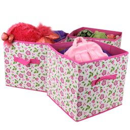 Set of 3- Storage Bins Organizer Cubes Cute Pink Floral Fabric Box Handle