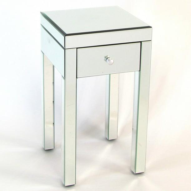 Wayborn Omega 1 Drawer Mirrored, Narrow Mirrored Side Table