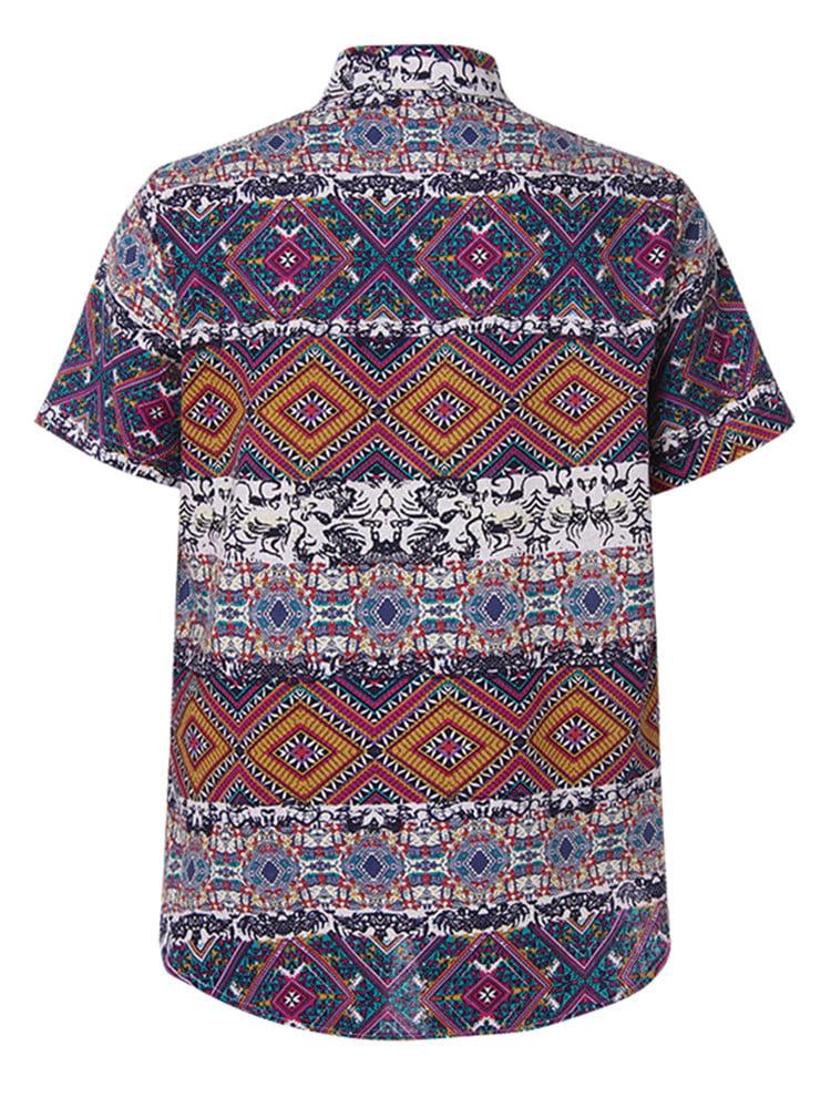 LI-Beauty Hawaiian Shirt Men Summer Short Sleeve Glasses Snake Printed Beach Party Holiday Camp Casual