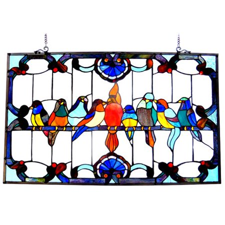 CHLOE Lighting Tiffany-glass featuring Gathering Birds Window Panel 32x20