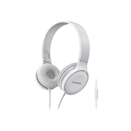 Panasonic RP-HF100M-W Panasonic Lightweight On-Ear Headphones With Microphone (White) ()