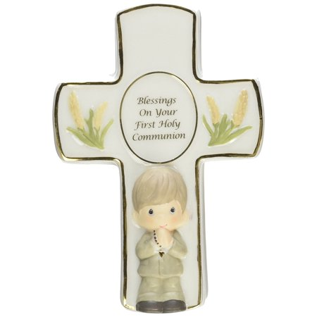 , Blessings On Your First Holy Communion, Bisque Porcelain Covered Box With Rosary, Boy, 123407 By Precious Moments Ship from US