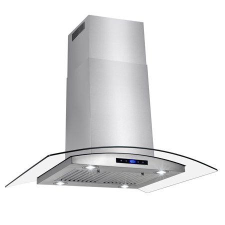 Akdy 36 Stainless Steel Island Mount Range Hood With Tempered Gl Touch Panel Kitchen Cooking
