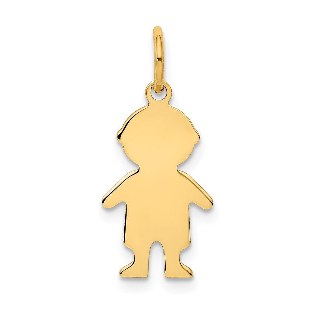 14k Yellow Gold Engravable Boy Charm Pendant