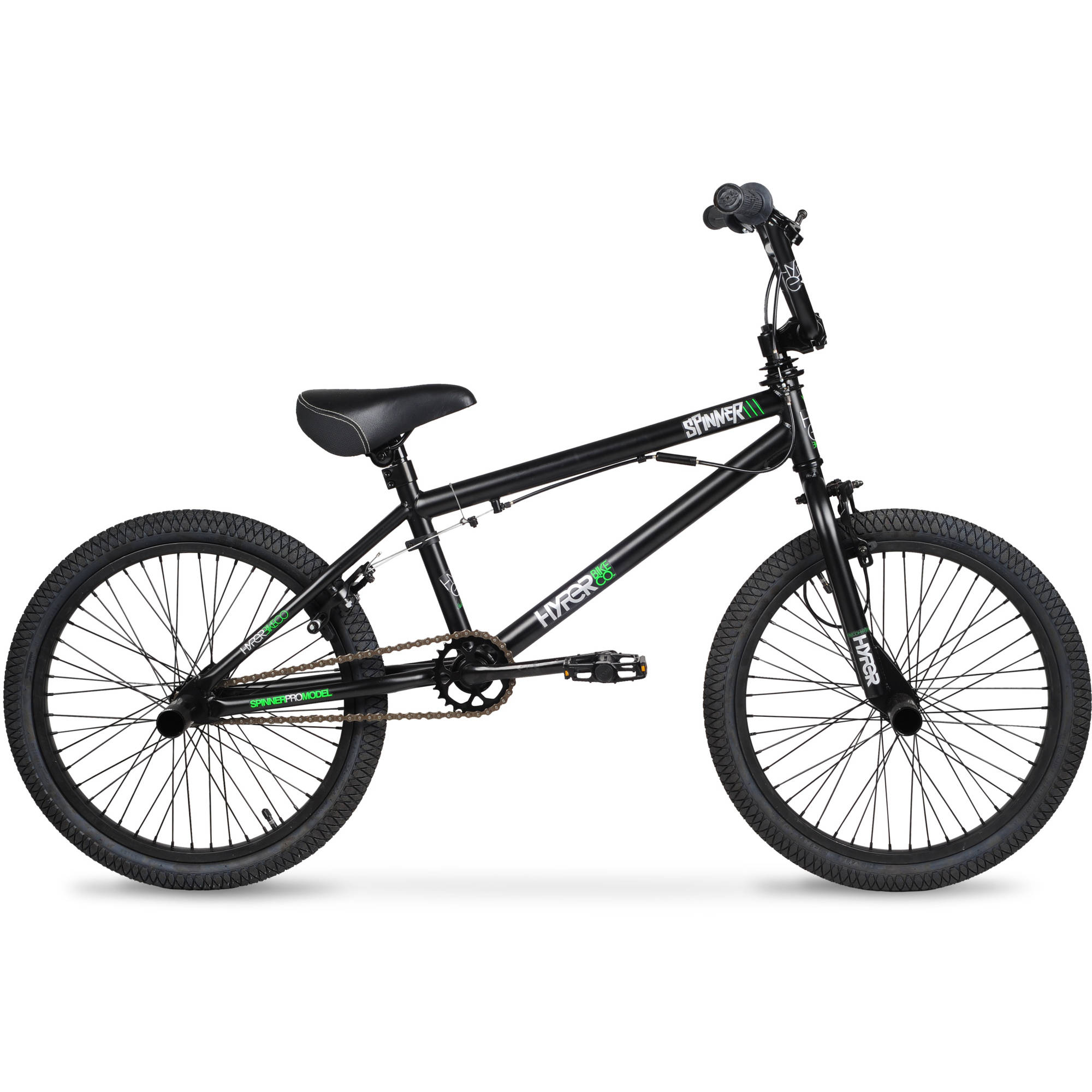 "20"" Hyper Spinner Pro Boys' BMX Bike, Black/Green"