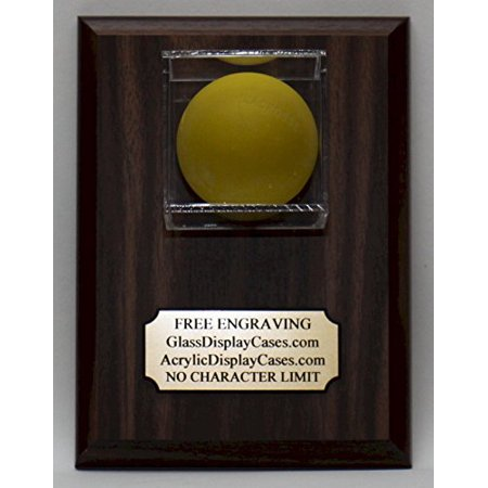 Lacrosse Ball Personalized Custom Wall Mount Display Case Holder - Wood Plaque with Walnut Finish - Free Engraving