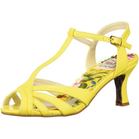 Bettie Page Women's Bp300-Layla Heeled Sandal, Yellow, Size 9.0