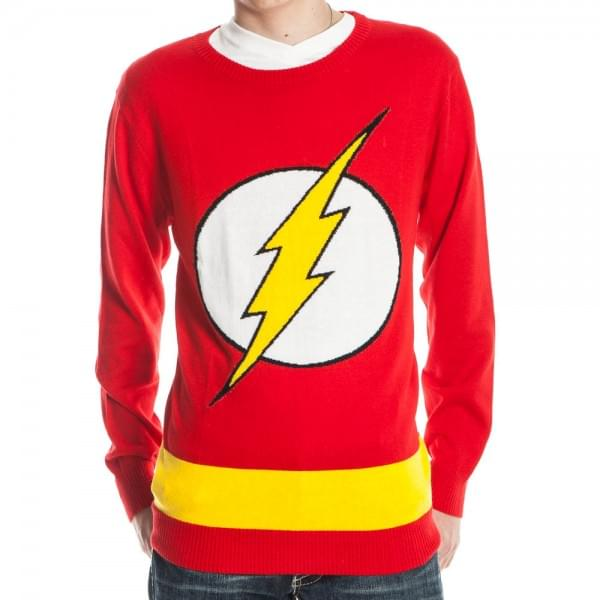 DC Comics Flash Logo Red Knit Adult Sweater