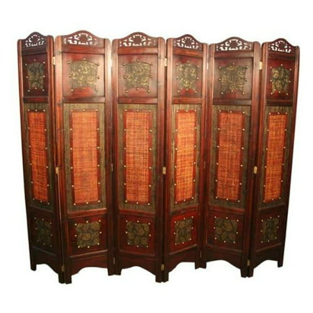 Vintage Oriental Style 6 Panels Screen Room Divider ()