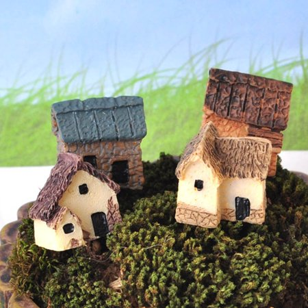 Electronicheart 4pcs Miniature Fairy Garden Stone Houses Mini Cottage House Miniatures Decor Accessories Gardening Decoration Kit - image 5 of 6