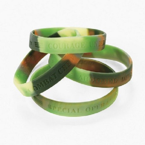 Lot of 12 Green Camouflage Army Rubber Bracelets