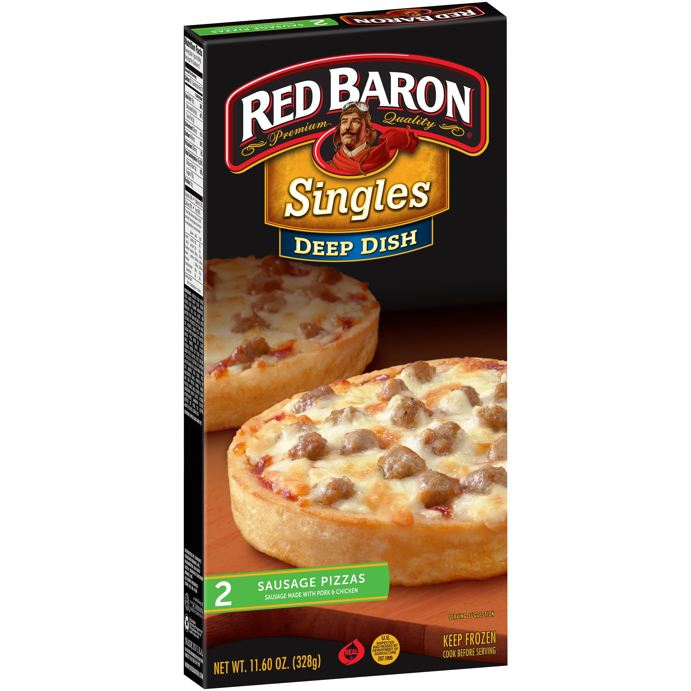 Red Baron® Singles Deep Dish Sausage Pizzas 11.60 oz. Box