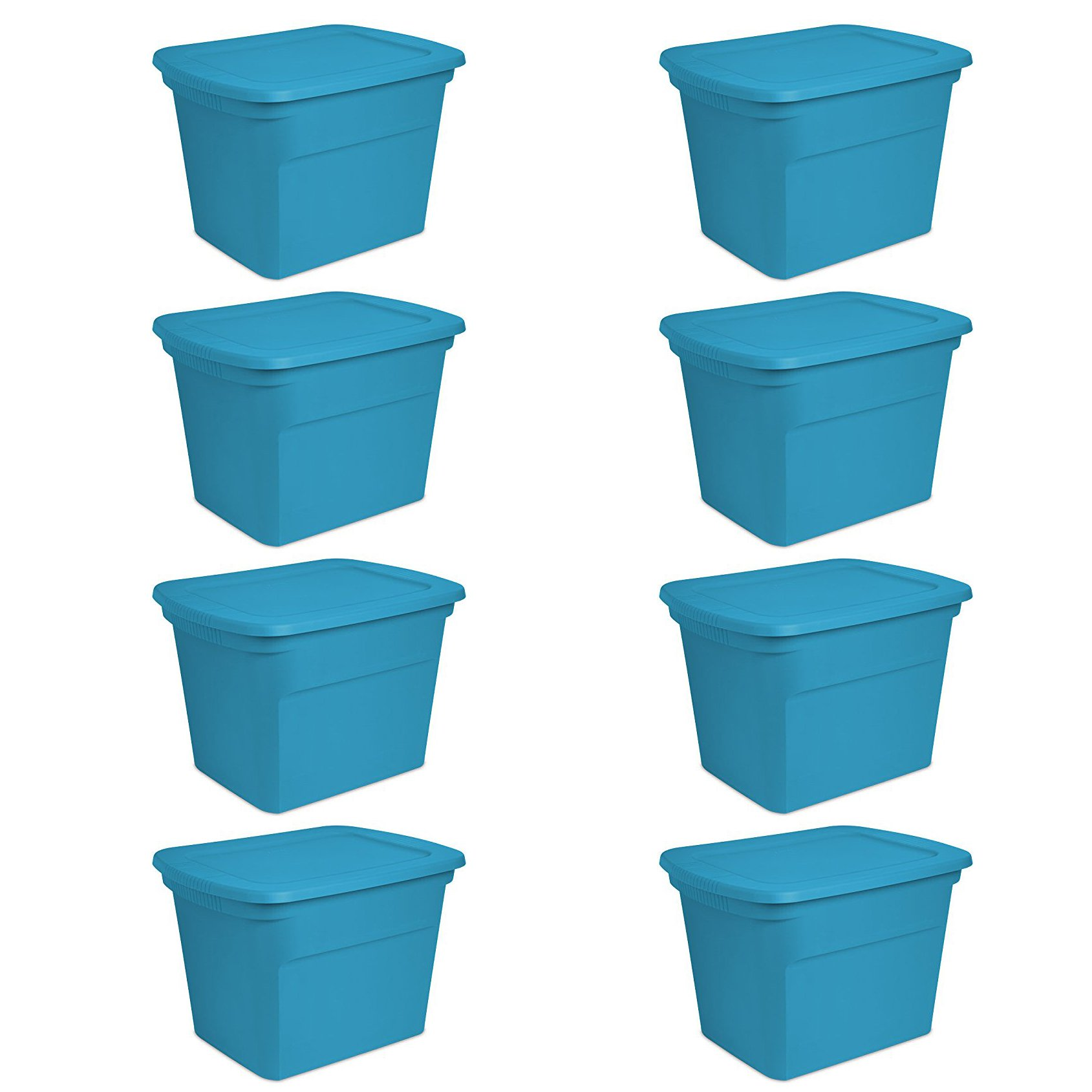 Sterilite 18 Gallon Plastic Storage Tote, Blue Aquarium (8 Pack) | 17314308