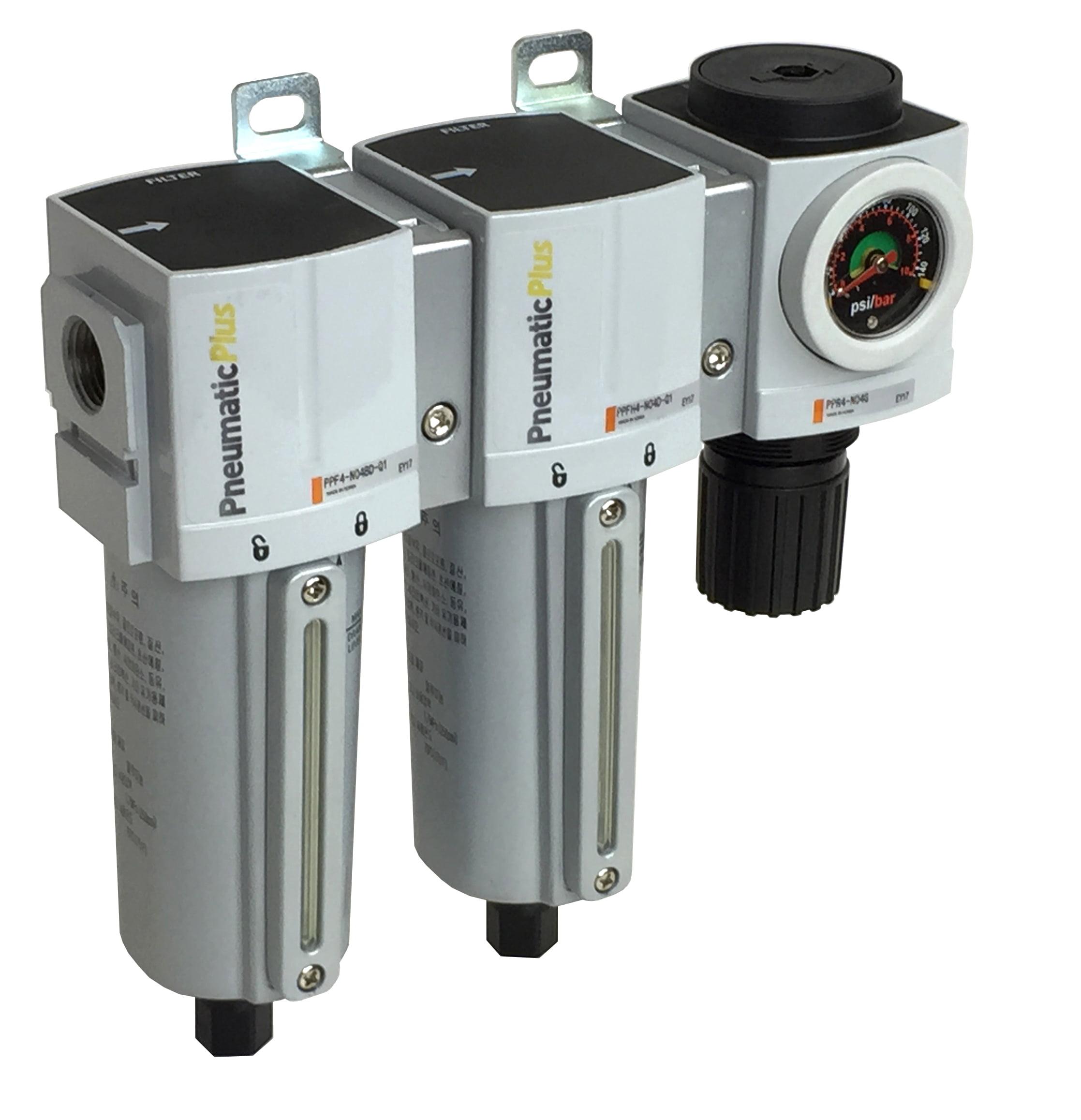 "PneumaticPlus PPC4C-N06DG-Q1 3-Stage Air Drying System, Particulate Air Filter (5 Micron), Coalescing Air Filter (0.3 Micron), Air Pressure Regulator Combo 3/4"" NPT, Auto Drain, Metal Bowl, Gauge"