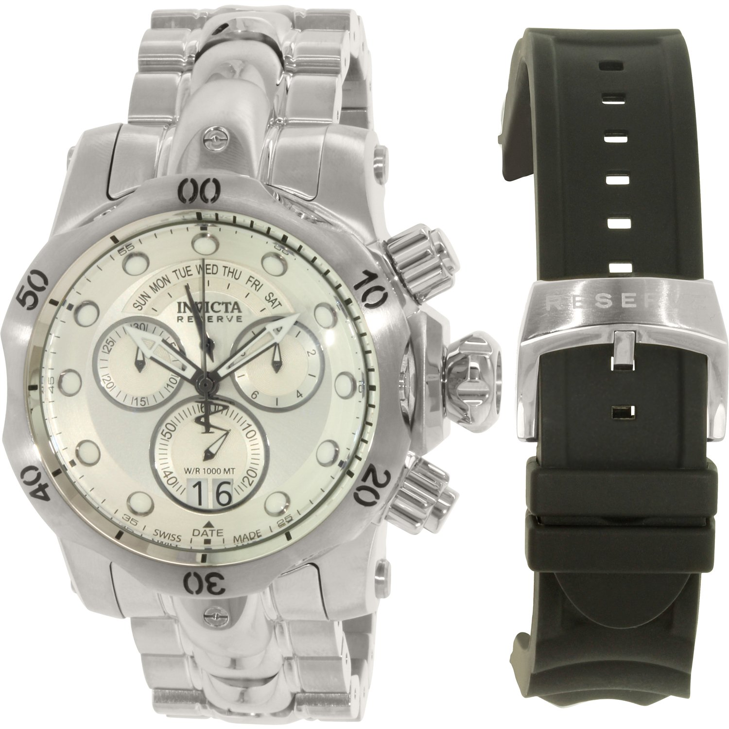 Invicta Men's Venom 1537 Silver Stainless-Steel Plated Sw...