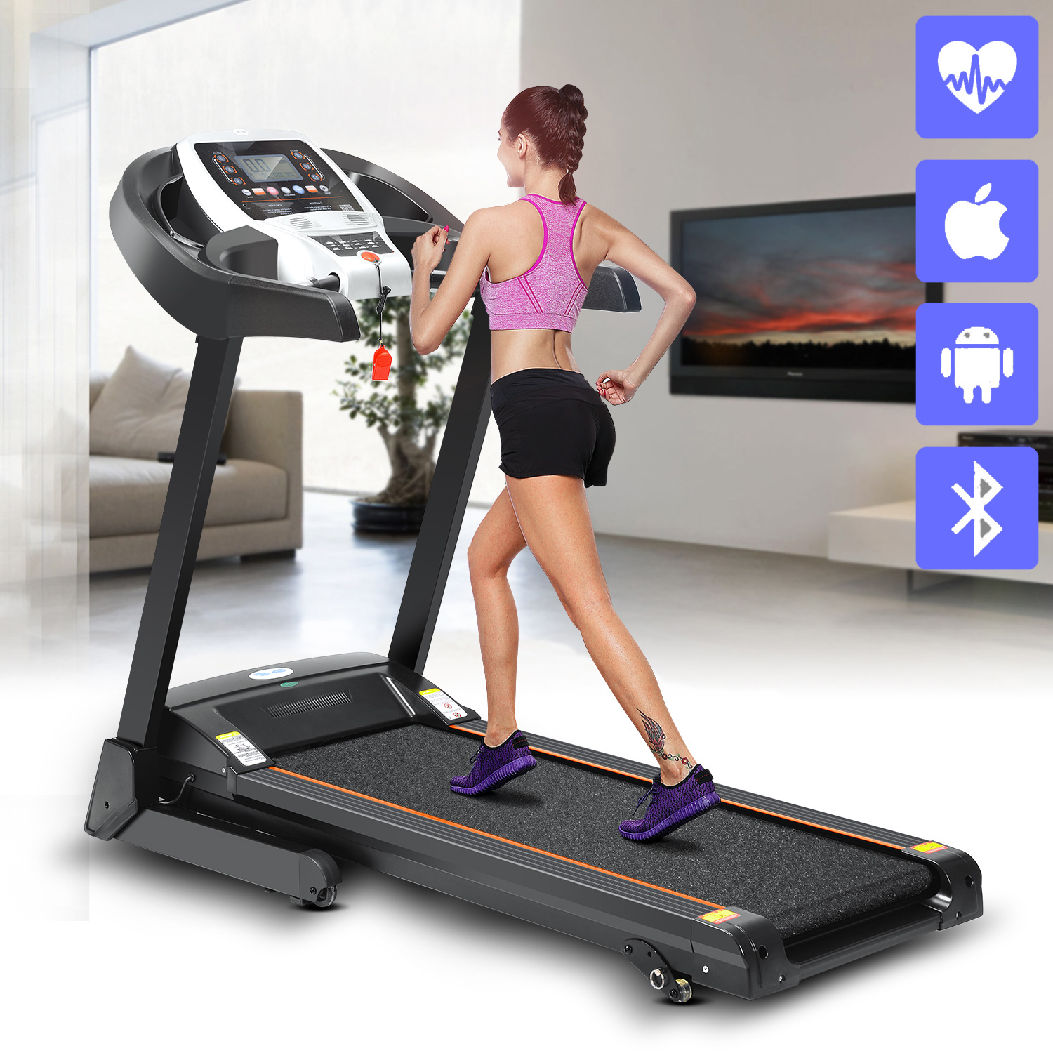 2.25hp Electric Folding Treadmill Commercial Fitness Training Equipment with APP Control BYE