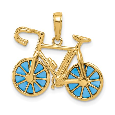 14k Yellow Gold 3 D Blue Enameled Bicycle Pendant Charm Necklace Travel Transportation Gifts For Women For Her