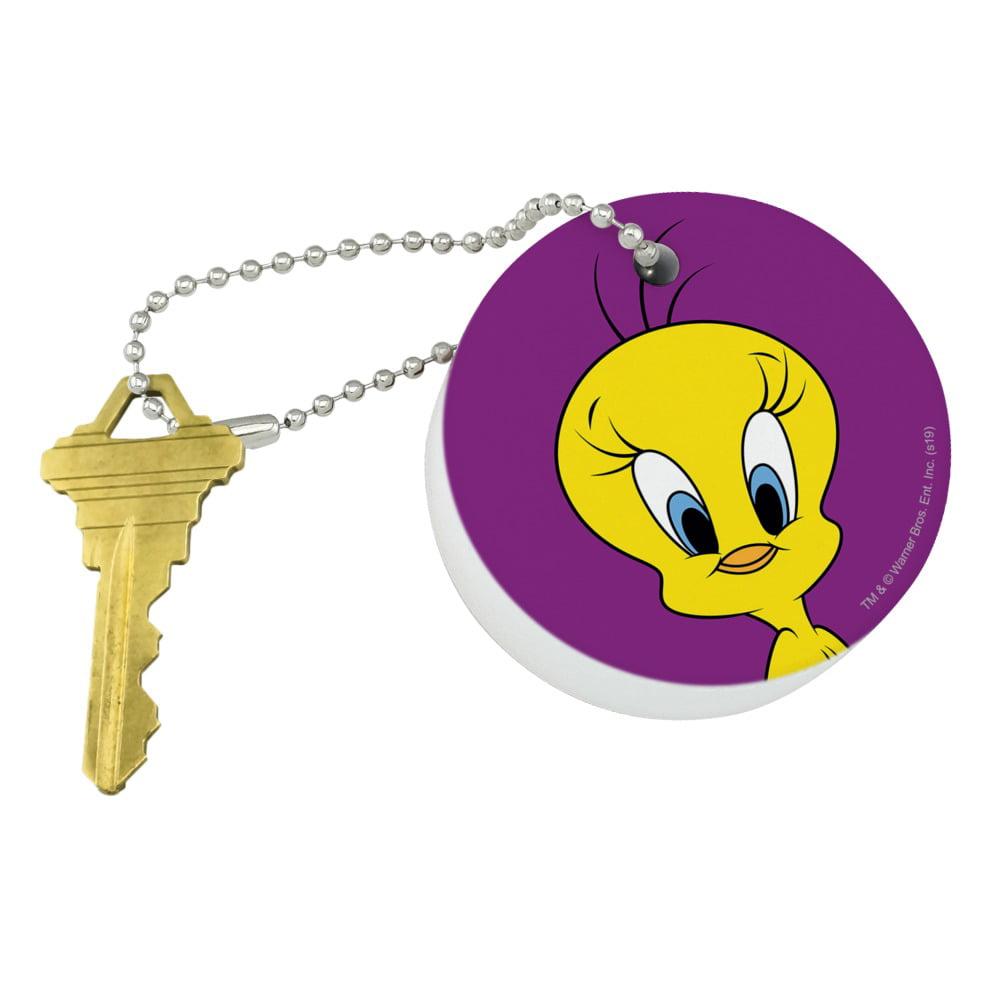 Vintage WB Looney Tunes Tweety Bird Plastic Mirror Key Ring Chain