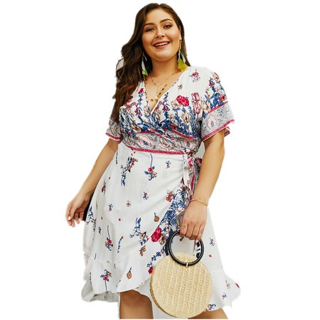 Womens Dresses Floral Printed Cross Criss V Neck Pleated Lace Up Swing Ruffled Casual Summer Boho Beach Dresses Plus Size