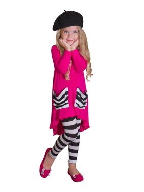 Girls Hi-lo Long Sleeve Tunic with Slouchy Pockets & Matching Leggings Set (4 Color Options), Blue, Size: 2T/3T