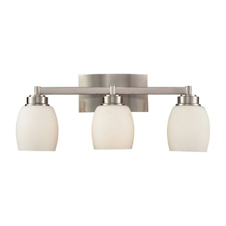New Product ELK Lighting The Northport 3 Light Vanity In Satin Nickel And Opal White Glass 17102/3 Sold By VaasuHomes