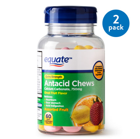 (2 Pack) Equate Extra Strength Antacid Assorted Fruit Chewables, 750 mg, 60 Ct