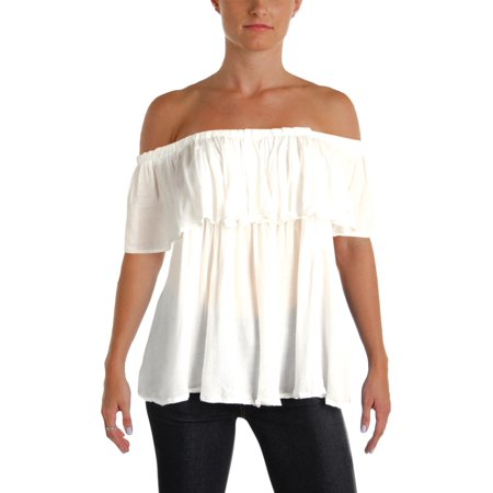 Mustard Seed Womens Off-The-Shoulder Ruffled Blouse White S
