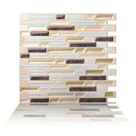 Ivory Ceramic Tile (Tic Tac Tiles - Premium Anti Mold Peel and Stick Wall Tile Backsplash in Como Maroon )