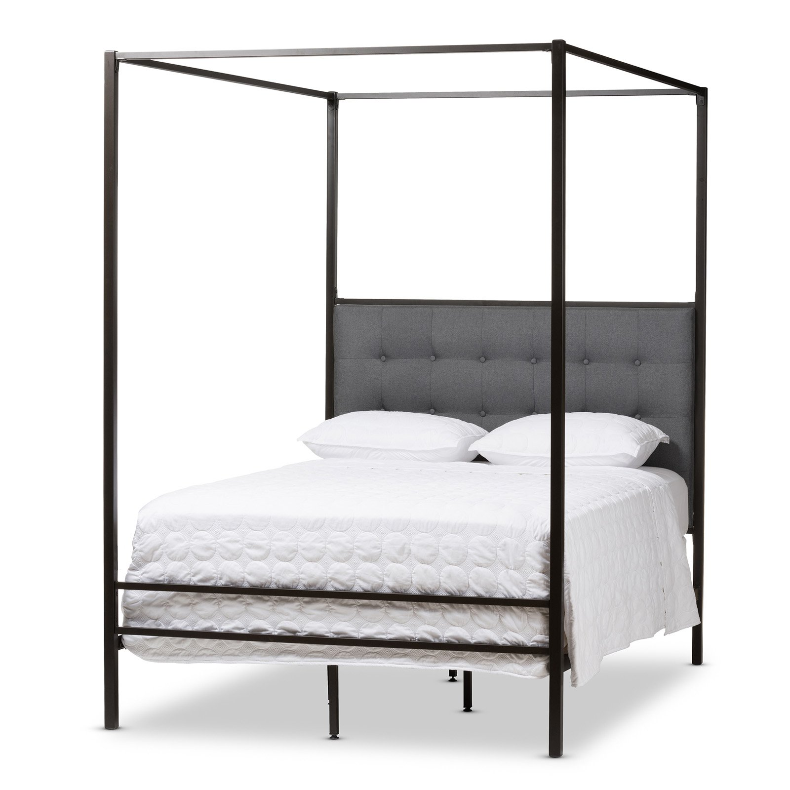Baxton Studio Eleanor Vintage Black Finished Metal Canopy Queen Bed