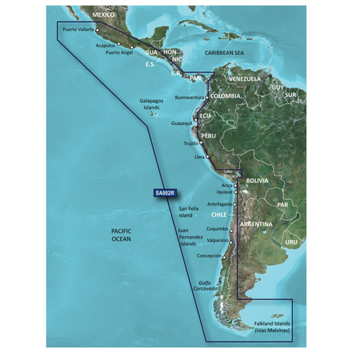 Garmin 010-C1063-00 Navigational Software Covers South America from Acalpulco, Mexico to Tierra del Fuego