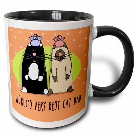 3dRose World s Best Cat Dad Cute Cartoon Kittens Pets Animals , Two Tone Black Mug, (Best Looking Cat In The World)
