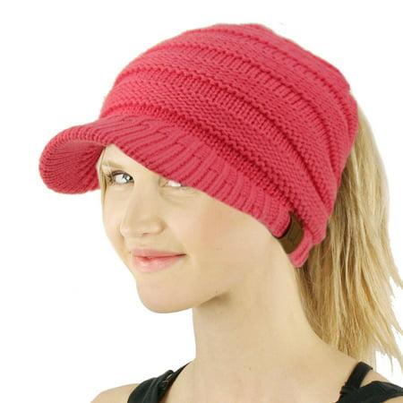 669da6a6136013 SK Hat Shop - CC Ponytail Visor Brim Messy Bun BeanieTail Stretchy Knit  Beanie Sun Hat - Walmart.com