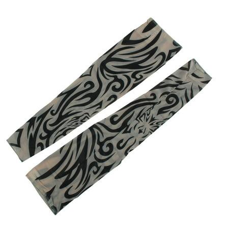 Black Fake Temporary Tribal Heart Tattoo Elastic Arm Sleeve Khaki 2