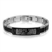 Our Lords Prayer Cross El Padre Maestro ID Bracelet For Men Two Tone Black Silver Tone Stainless Steel Link