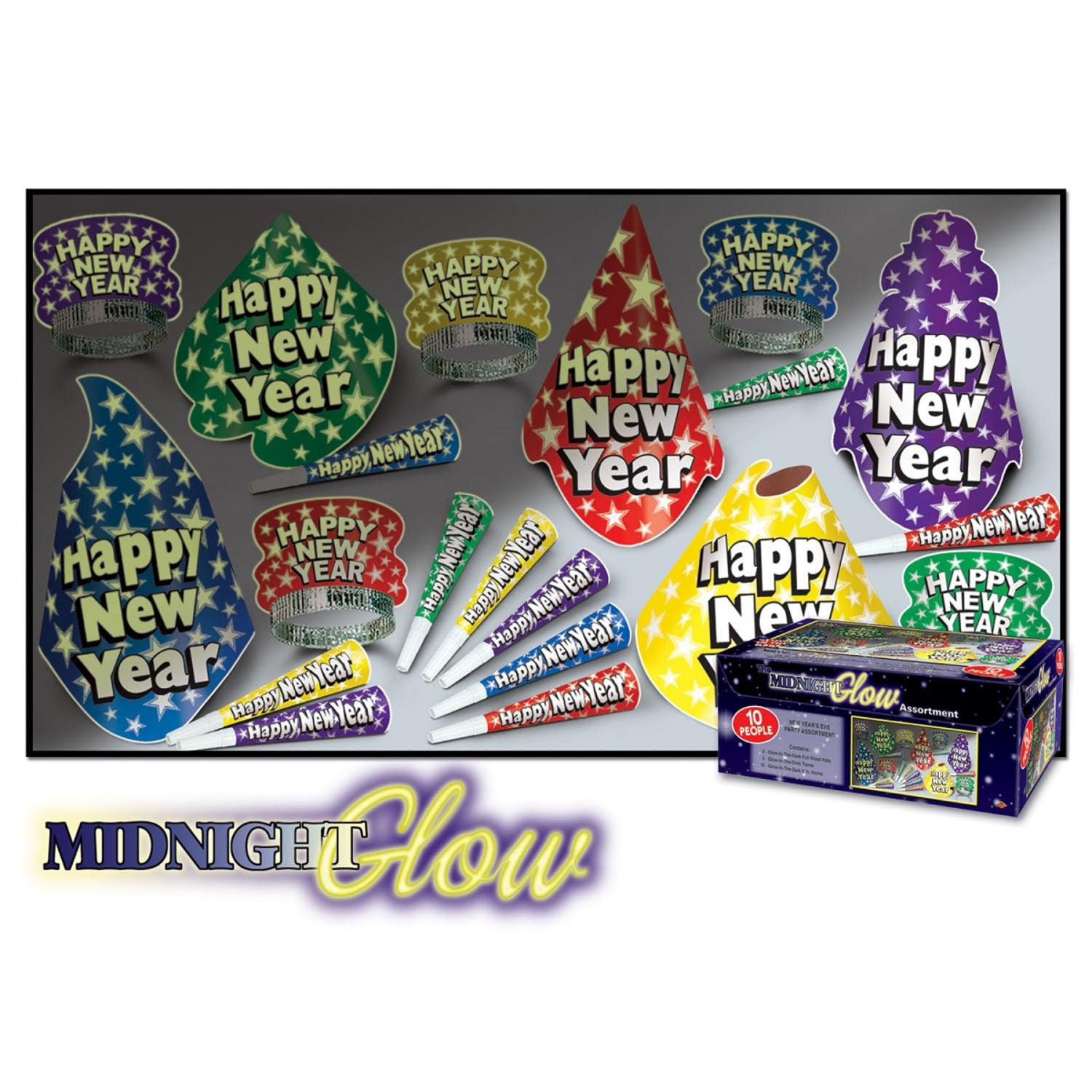 """Club Pack of 10 Midnight Glow """"Happy New Years"""" Legacy Party Favor Hat Kits"""