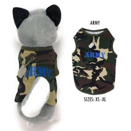 Small Pet Tank Puppy Army Summer Clothes Dog Outfit Apparel Costume with Dog Tag](Dog Outfit)