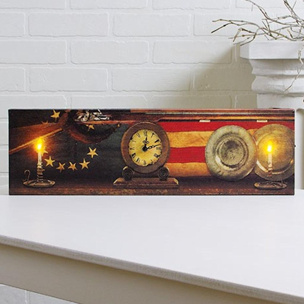 "Timeless by Design 73076 - 6"" x 20"" x 1"" ""Lighted Working Clock Colonial Mantel"" Battery Operated LED Lighted Canvas (Batteries Not Included)"