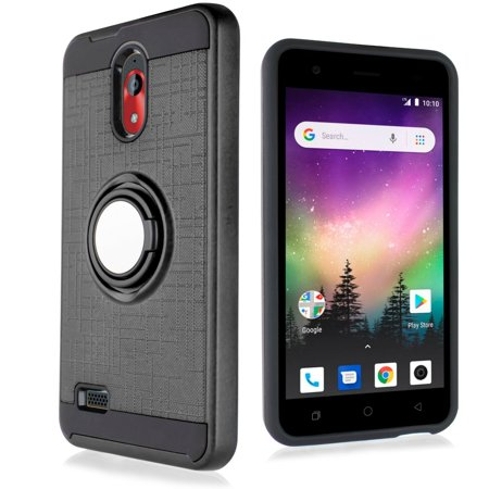 """for 5"""" COOLPAD ILLUMINA 3310 with 360 Degree Rotating Ring Grids Pattern Resistant Hard Back Brushed Metal Hybrid Shield Slim Bumper Grip Shockproof Protective Kickstand Phone Case Black"""