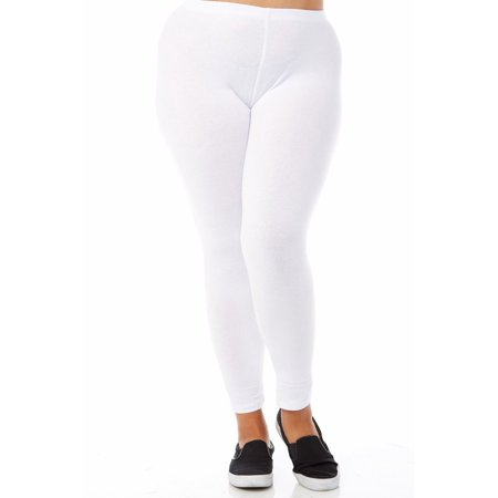72bd9eb092d Bozzolo - Womens Plus Size Comfy Basic Cotton Blend Plain Color Long  Leggings XB4003-XL-White - Walmart.com
