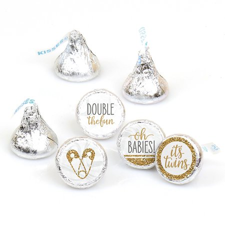 Twin Baby Shower Favors (It's Twins - Gold Twins Baby Shower Round Candy Sticker Favors - Labels Fit Hershey's Kisses (1 Sheet of)