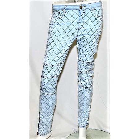 K Jordan Women's Printed Moto Jeans in Light Blue - - Best Heels Jeans