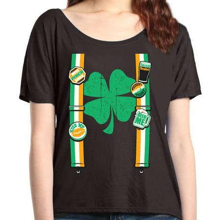 95c41841b Shop4Ever Women's Irish Suspenders Shamrock St. Patrick's Day Slouchy T- Shirt