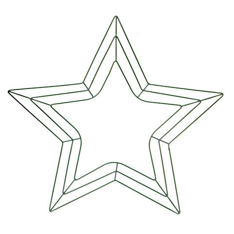 Star Shaped Wreath Form: 18 inch Green Wire Frame