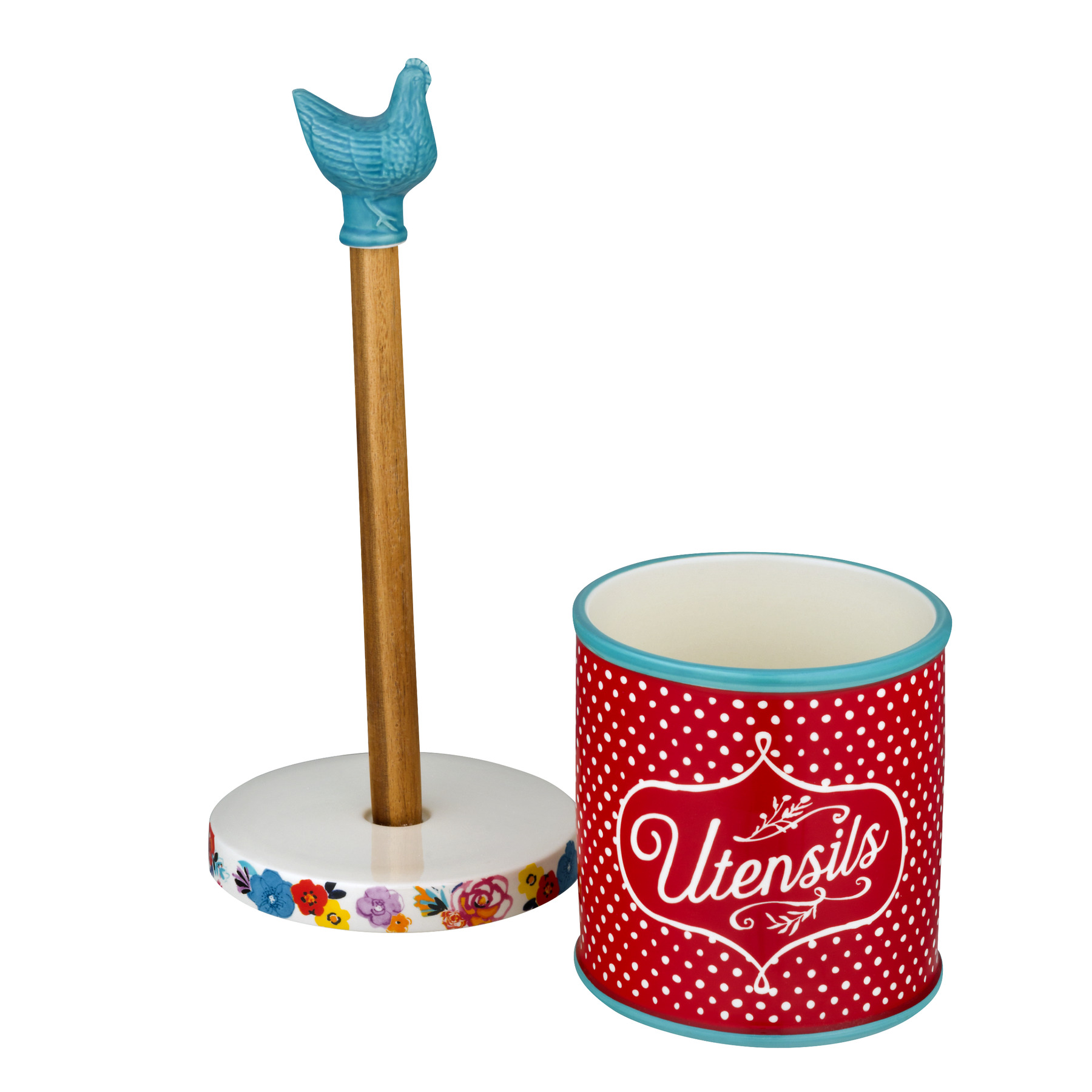 The Pioneer Woman Flea Market Turquoise Paper Towel Holder And Crock