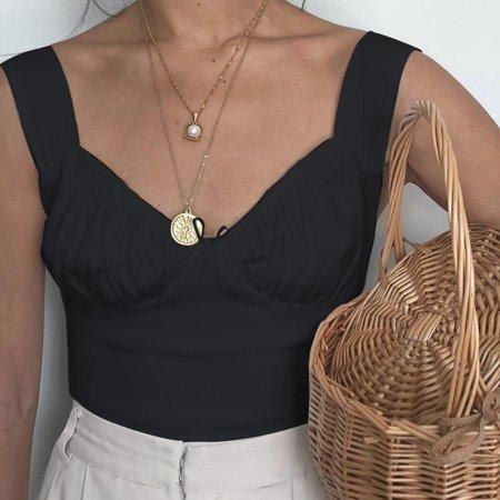 Women Summer Sleeveless Tank T-Shirt Blouse Crop Tops Vest - image 4 of 4