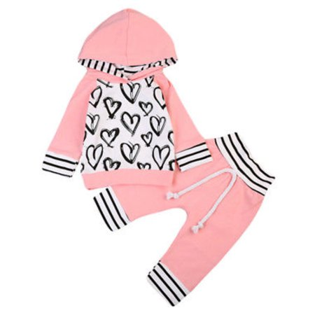 Infant Baby Girl Hand-Painting Heart Long Sleeve Hoodie and Long Pants 2 pcs Outfit (110/2-3 Years)
