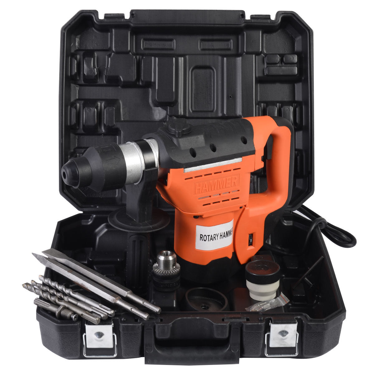 """GHP 900RPM 1100W Variable Speed Electric 1-1/2"""" Rotary Hammer Drill Kit w SDS Chuck"""