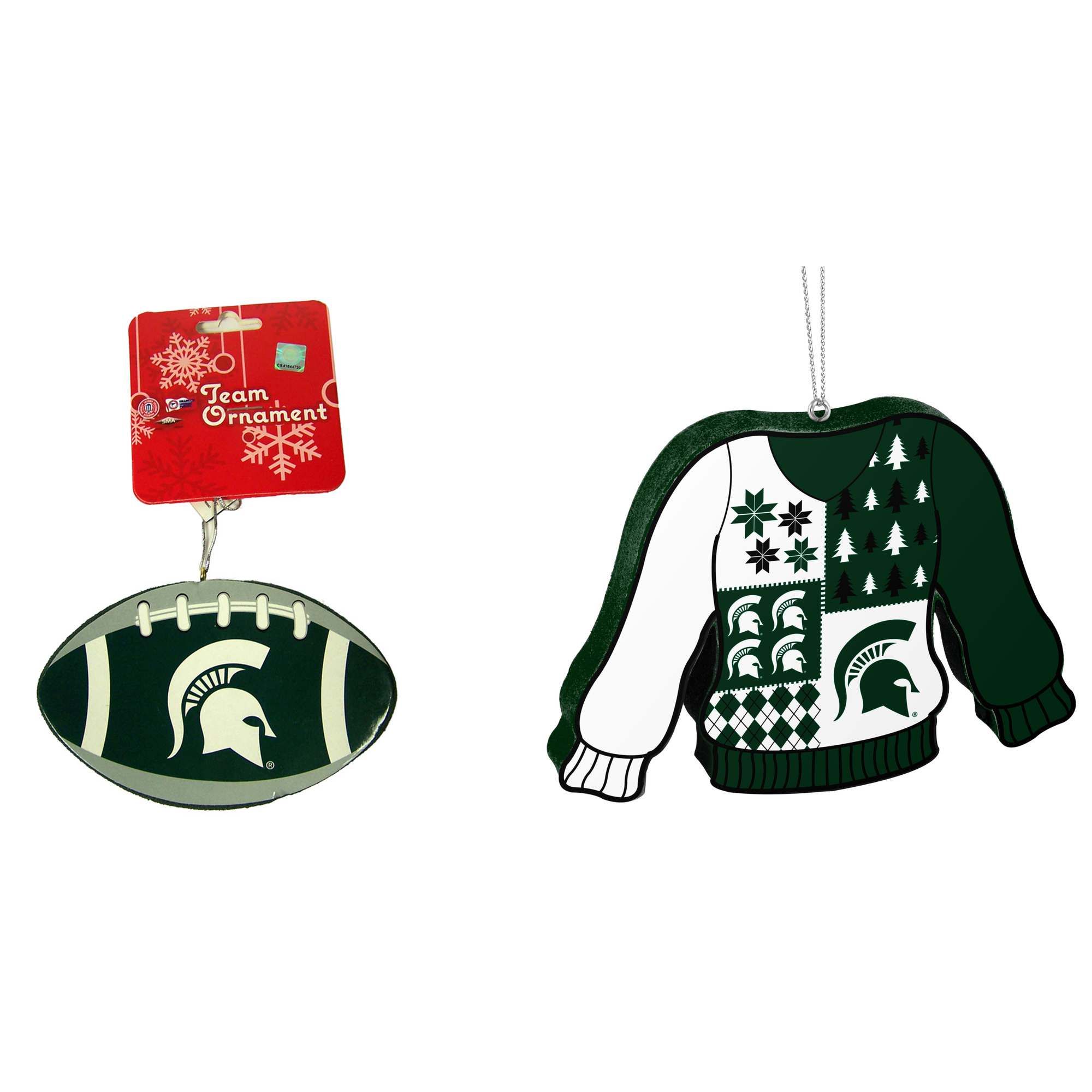 Michigan State Spartans NCAA Foam Christmas Ball Ornament And Ugly Sweater Bundle 2 Pack