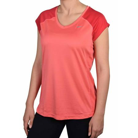 Nike women 39 s dri fit miler v neck running shirt light red for Women s dri fit polo shirts wholesale