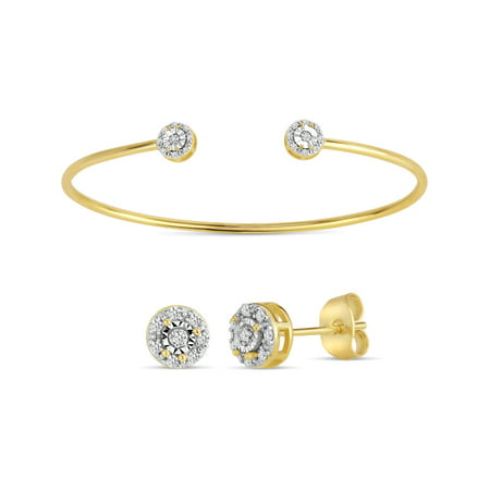 0.2 Total Carat Diamond Accent 18kt Gold Over Sterling Silver Illusion Circle Stud Earrings and Cuff Set